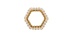 White Miyuki Delicas Woven on Gold (plated) Stainless Steel Hexagon 16mm