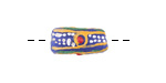 African Handpainted in Red/Green/Saffron/White Circles & Stripes on Cobalt Powder Glass (Krobo) Bead 19-26x10-11mm