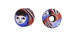 African Recycled Glass Blue & Red w/ Faces Round 12-14mm