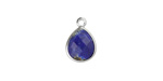 Lapis Faceted Teardrop Pendant in Silver Finish Bezel 10x14mm