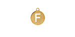 "Gold (plated) Stainless Steel Initial Coin Charm ""F"" 10x12mm"