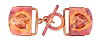 Patricia Healey Copper Puff Heart 18mm Cord Slide Toggle Clasp 69x24mm, 27mm Bar