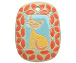 Golem Studio Golden Cat Carved Ceramic Rectangle Pendant 31x40mm
