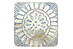 Lillypilly Blue Folk Sunflower Mother of Pearl Square Cabochon 31mm