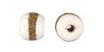 African Powder Glass (Krobo) White w/ Band Tumbled Round 10-12mm