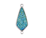 Metallic Green Turquoise Crystal Druzy Teardrop Link in Silver Finish Bezel 33x14mm