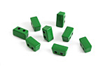 Kelly Green Enamel 2-Hole Tile Thin Rectangle Bead 4x8mm