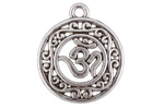 Antique Silver (plated) Openwork Filigree Ohm Pendant 19x22mm