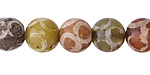 Rainbow Soochow Jade Carved Swirls Round 11-12mm