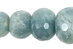 Aquamarine Faceted Rondelle Graduated 9-28mm