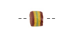 African Powder Glass Burgundy w/ Yellow & Green Band Barrel Bead 8-9x10-11mm