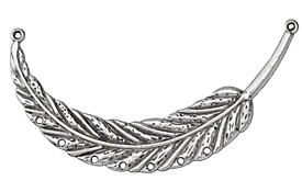 Zola Elements Antique Silver (plated) Feather Focal Link w/ Holes 91x43mm