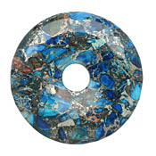Midnight Blue Impression Jasper & Pyrite Mosaic Donut 50mm