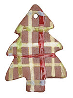 Gaea Ceramic Plaid Magic Tree Ornament 44x59mm