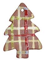 Gaea Ceramic Plaid Magic Tree Ornament 44x59mm