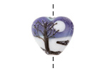 Grace Lampwork Snowy Night Heart 18-20mm