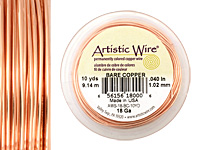 Artistic Wire Bare Copper 18 gauge, 10 yards