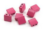 Berry Enamel 2-Hole Tile Square Bead 8mm