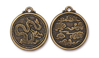 TierraCast Antique Brass (plated) Dragon Coin Pendant 25x28mm
