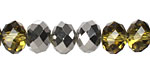 Chartreuse & Pewter Crystal Faceted Rondelle 8mm