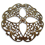 Vintaj Natural Brass Openwork Flower Filigree 48mm