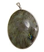 Labradorite Freeform Pendant in Sterling Silver 52-65x72-84mm