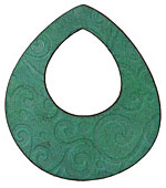 Lillypilly Sea Green Spiral Embossed Leather Large Open Round 50mm