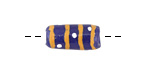African Hand-Painted in Yellow & White on Cobalt Powder Glass (Krobo) Bead 13-20x8-9mm