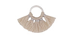 Natural Small Fanned Tassel on Ring w/ Silver Finish 29x19mm