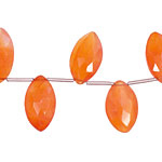 Carnelian (natural-orange) Faceted Flat Spear Drop 8-10x13-17mm