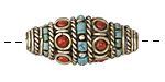 Tibetan White Brass w/ Turquoise & Coral Rice Bead 34x16mm