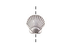 Antique Silver (plated) Scallop Shell Bead 13x13mm