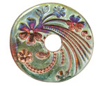Xaz Raku Green Large Flower Coin 44-45mm