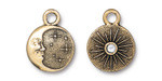 TierraCast Antique Gold (plated) Starry Night w/ Crystal Charm 15x19mm