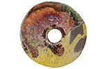Greek Ceramic Raku Metallic Harvest Large Spacer Disc 30mm