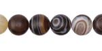 Dark Brown Line Agate (matte) Round 10mm