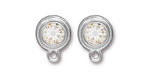 TierraCast Rhodium (plated) Stepped Bezel Ear Post w/ Crystal 12x17mm