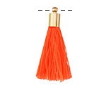 Neon Orange Thread Tassel w/ Gold (plated) Tassel Cap 30mm