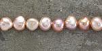 Natural Pink (dark) Freshwater Flat-Sided Potato Pearl 6-7mm