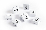 "White Enamel 2-Hole Tile Square Bead w/ Letter ""J"" 8mm"