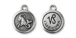 TierraCast Antique Silver (plated) Round Capricorn Charm 15x18mm