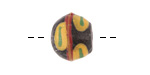 African Powder Glass Black w/ Saffron, Red & Green Bead 14-16mm