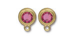 TierraCast Gold (plated) Stepped Bezel Ear Post w/ Rose Crystal 12x17mm