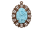 Vintaj Natural Brass Natural Brass Natural Brass Serenity Garden Pendant 22x30mm