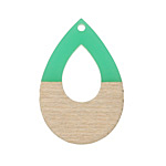 Wood & Emerald Resin Open Teardrop Focal 25x38mm