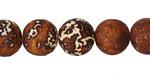 Tibetan (Dzi) Agate (rust & white) Matte Molten Pattern Round 12mm