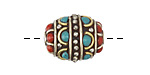 Tibetan Brass & White Brass w/ Turquoise & Coral Rice Bead 18x17mm