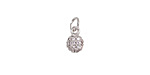 Clear Pave CZ Stainless Steel Orb Charm 6x12mm
