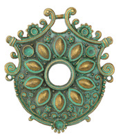 Patina Green Brass (plated) Floral Shield Pendant 55x62mm