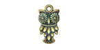 Zola Elements Patina Green Brass Petit Vintage Owl Charm 11x20mm